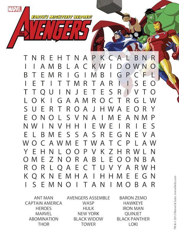 Superhero Printables Word search Maze and Superhero