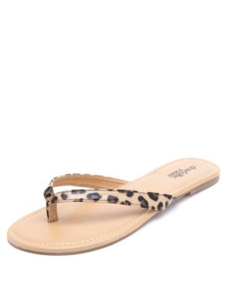 6d5e44864a8d Leopard Print Patent Thong Sandals  Charlotte Russe
