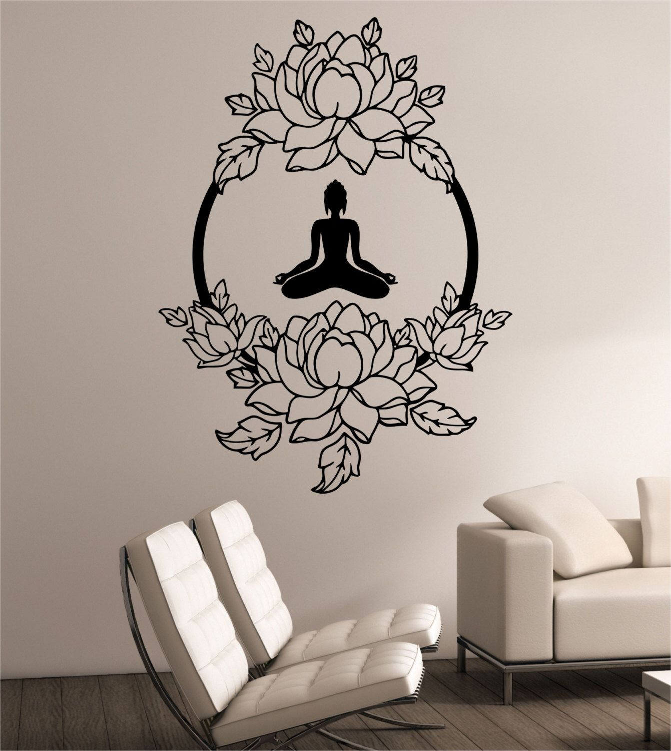 lotus wall decal meditation sticker art decor bedroom design mural interior design buddha. Black Bedroom Furniture Sets. Home Design Ideas