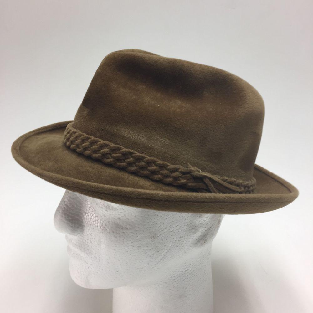 b9a69cdb4a1 Vtg 1950s CHURCHILL Shag Felt Fedora Hat Brown Capper & Capper DETROIT Size  7 | eBay