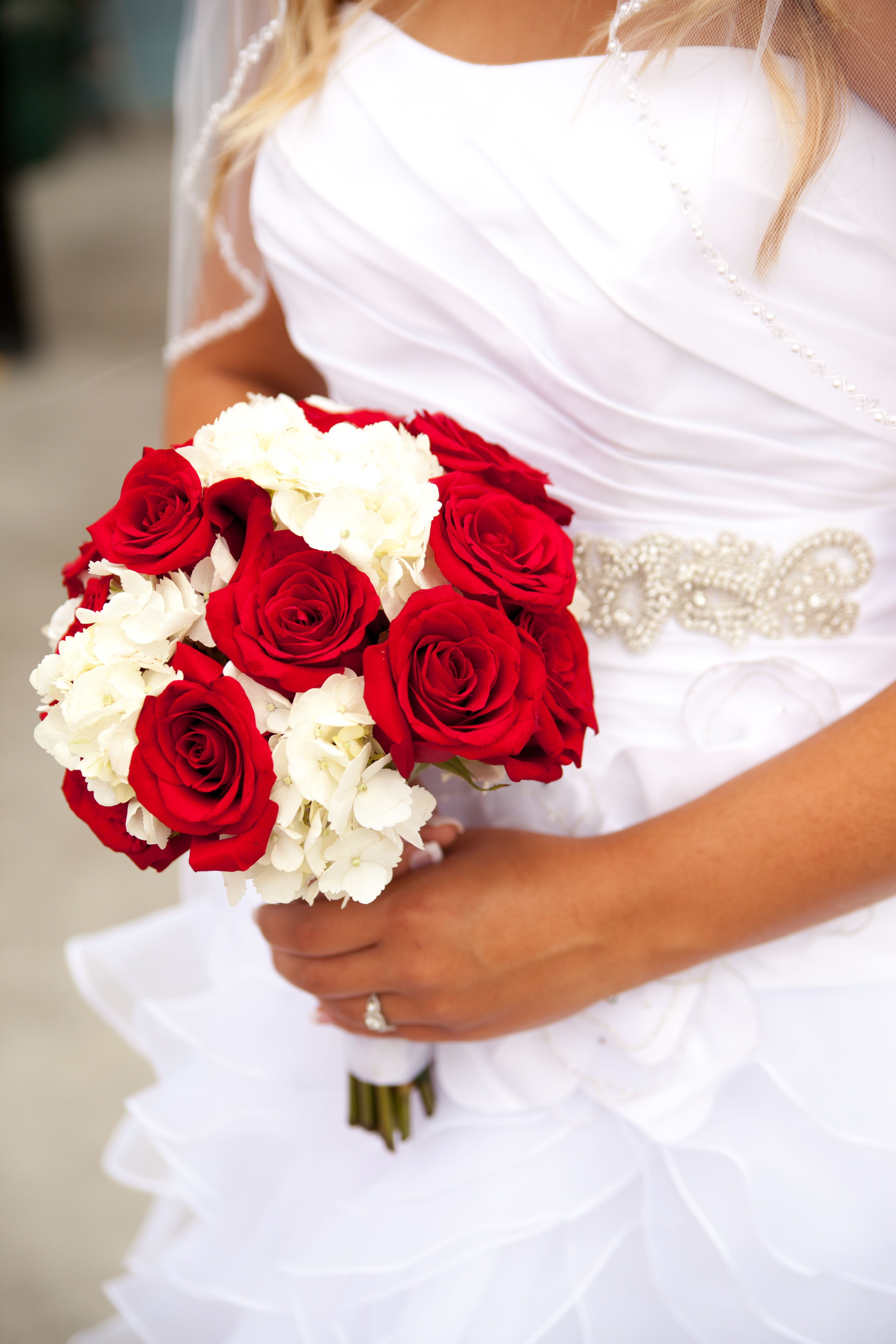 Red Roses And White Hydrangea Bouquet With Crystal Accents