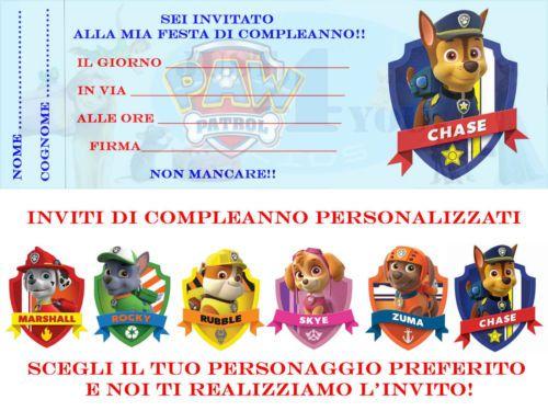 Inviti Festa Paw Patrol Personalizzabili per feste e compleanno