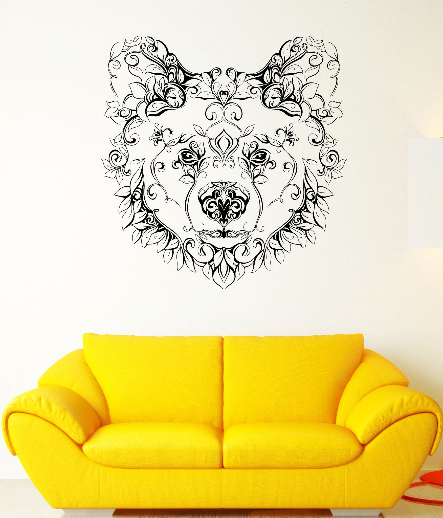 Wall Vinyl Sticker Decal Bear Head Animal Flower Character Patterns ...