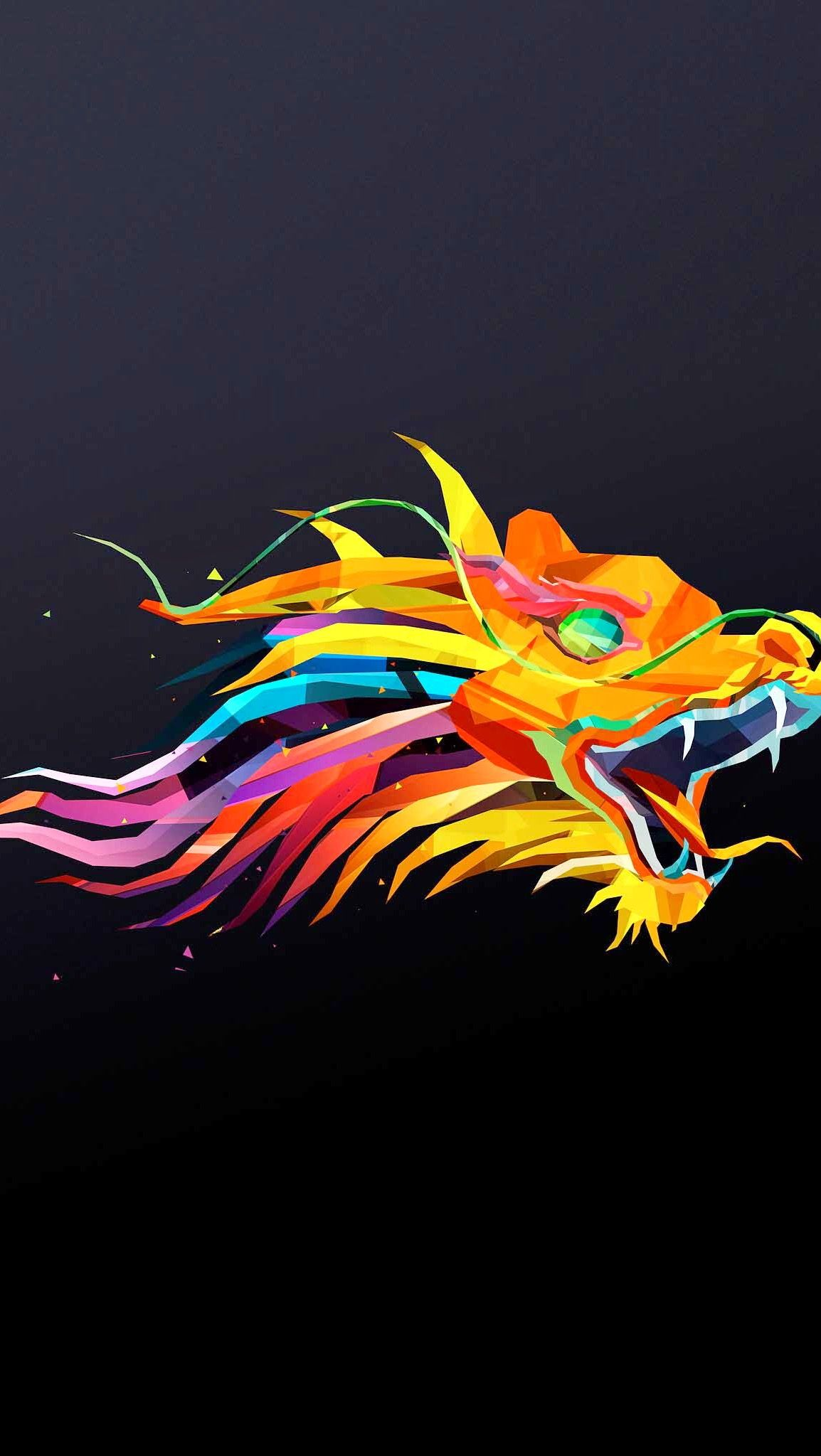 HD iPhone wallpaper Rainbow dragon 🐉🌈 Geometric animals