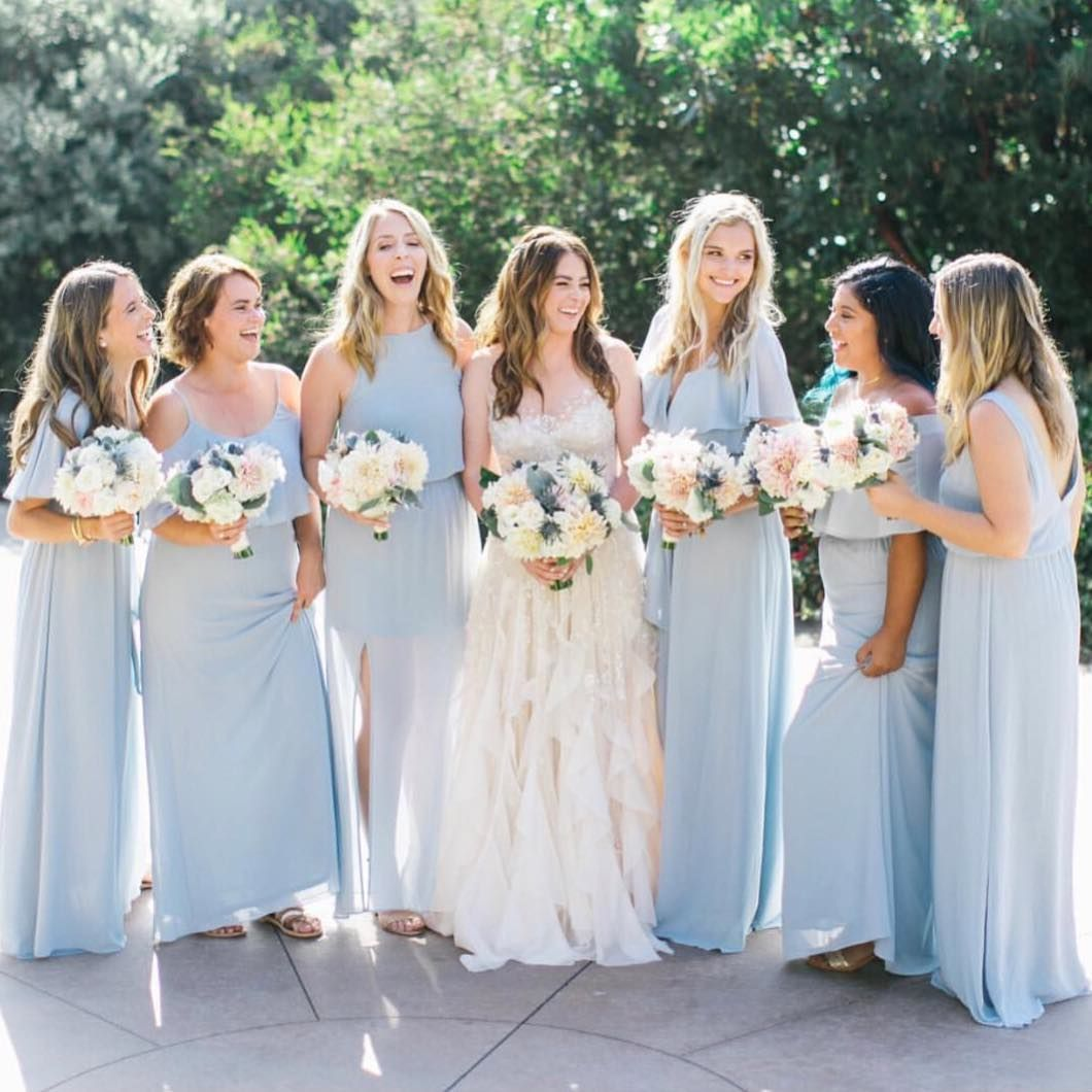 1d9cdafd9b1 Bride + her squad in Steel Blue bridesmaid dresses  mumuweddings ...