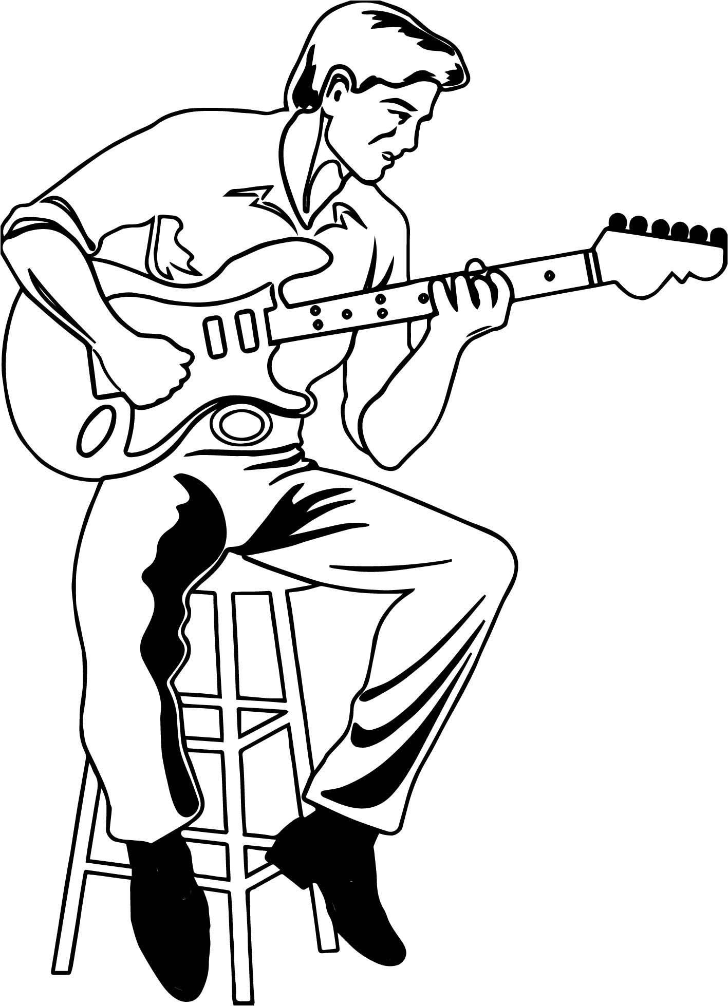 Awesome Illustration Of A Man Playing An Electric Playing The