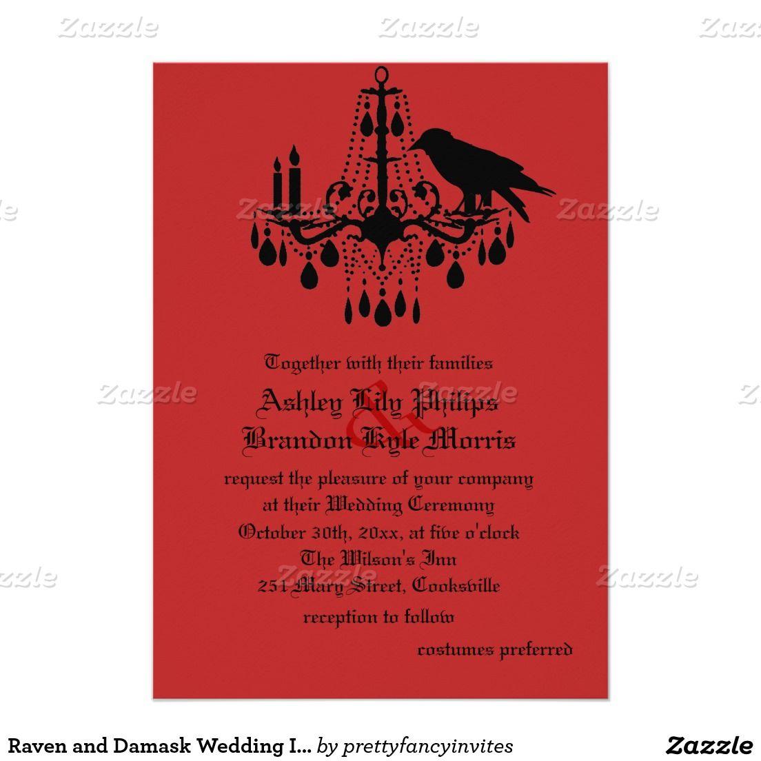 Raven and Damask Wedding Invitation | Halloween weddings, Damasks ...