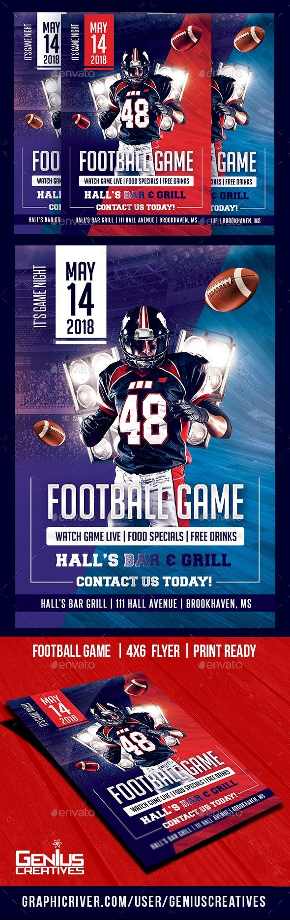Football GameDay Flyer Template Football ball, Game day