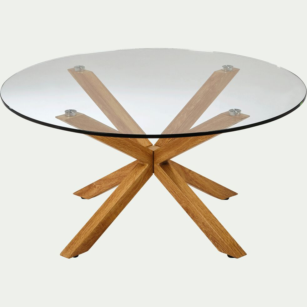 Table Basse Ronde En Verre Et Pietement Metal Effet Bois Areno Tables Basses Alinea Table Basse Ronde En Verre Table Basse Ronde Table Basse