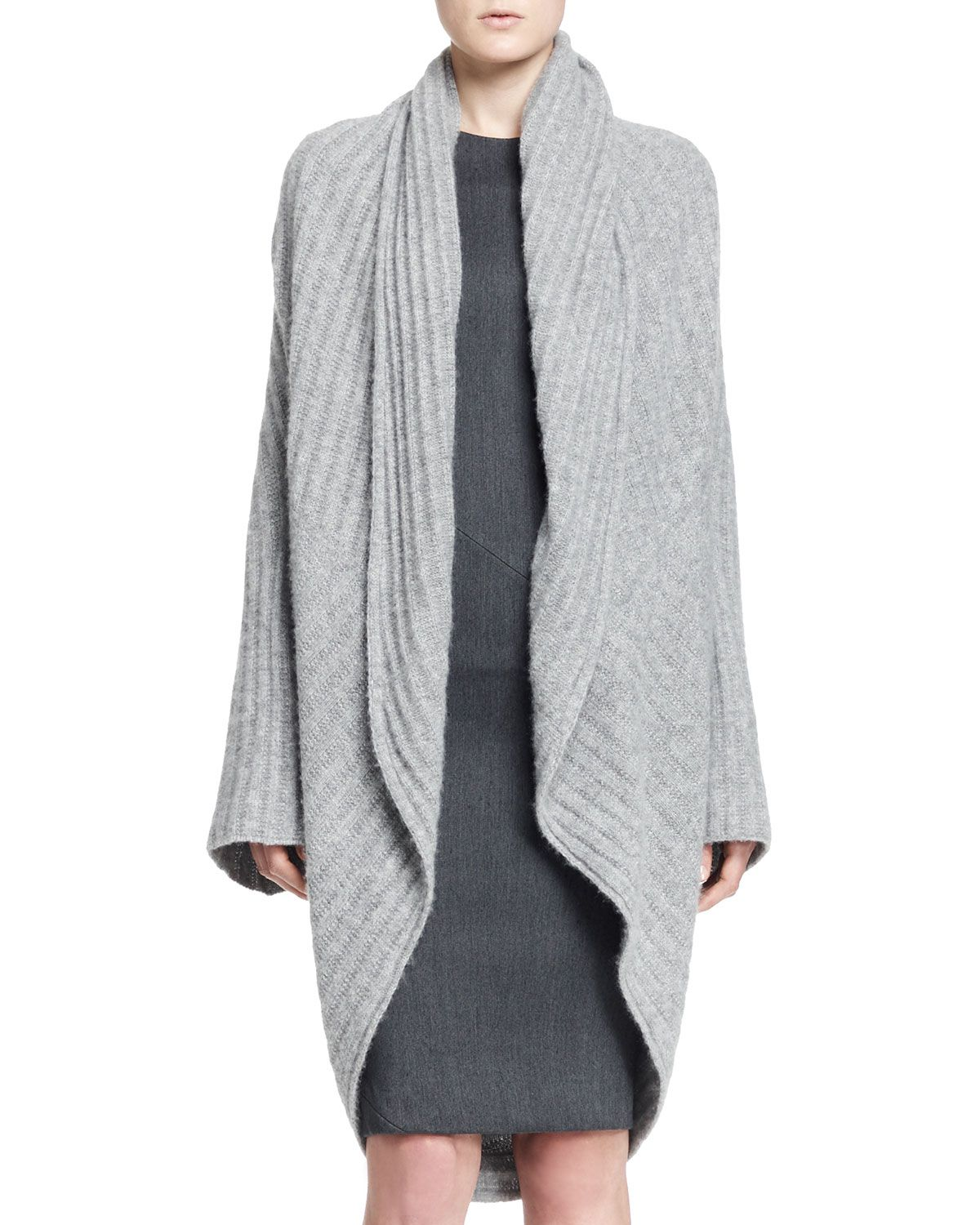 The Row Ilia Ribbed Cocoon Cardigan in Gray (LIGHT GREY MELANG ...