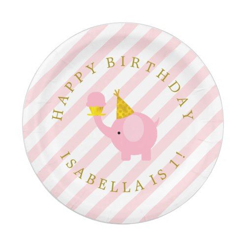 Cute Pink Elephants Personalized Birthday Party Paper Plate | Girl\u0027s Birthday Party Ideas | Pinterest | Pink elephant Birthdays and Gold birthday  sc 1 st  Pinterest & Cute Pink Elephants Personalized Birthday Party Paper Plate | Girl\u0027s ...