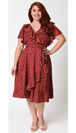 a5cbcea3a39 Unique Vintage Plus Size 1940s Red   Ivory Dotty Wrap Dress