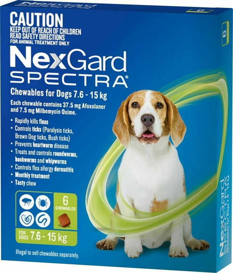 Nexgard Spectra Chewables For Medium Dogs 7 6 15kg Green 6 Pack 9327073006953 Ebay Ad Medium Dogs Nexgard Fleas Brown Dog Tick Dogs