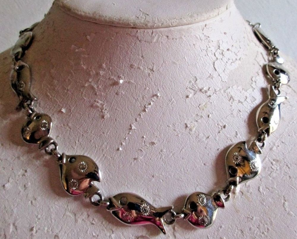 """VINTAGE ESTATE 18"""" SILVERTONE/CARVED ACCENTS FISH LINK HEAVYWEIGHT NECKLACE"""