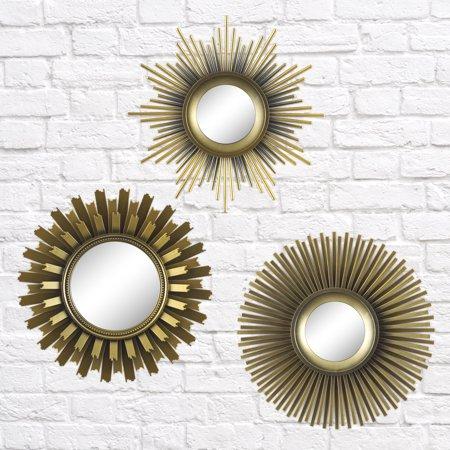 Better Homes Gardens 3 Piece Round Sunburst Mirror Set In Gold Finish Walmart Com Mirror Set Sunburst Mirror Gold Sunburst Mirror