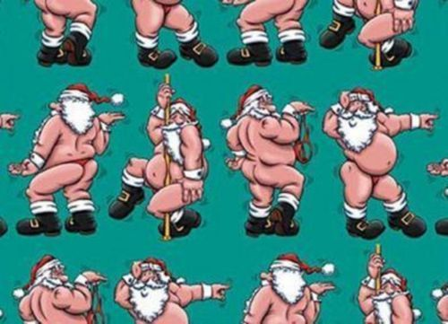 Santa The Stripper Wrapping Paper, Funny Christmas Holiday Gift ...