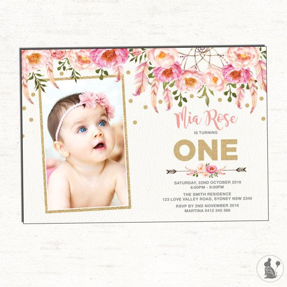 Floral First Birthday Invitation Pink and Gold Party Invite – Pink First Birthday Invitations