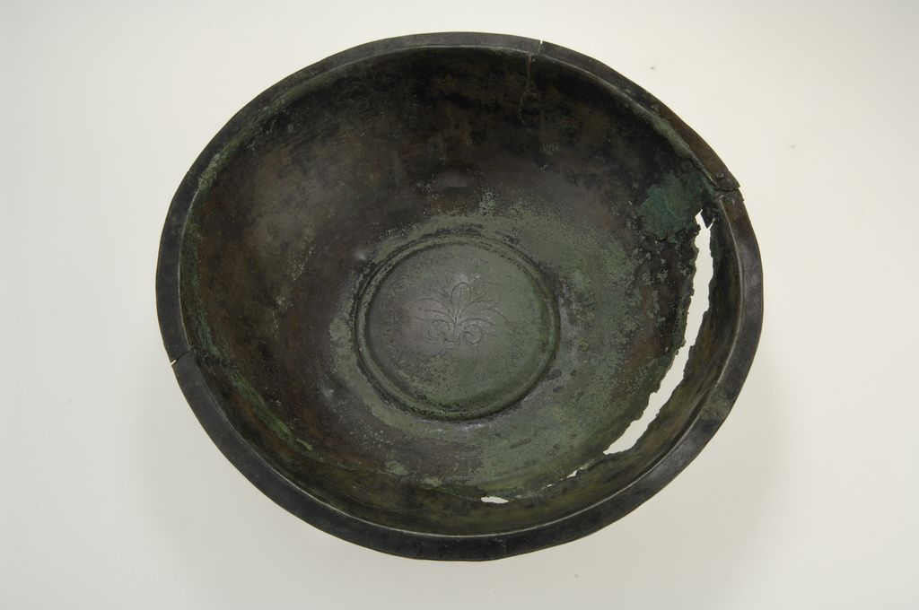 Viking bronze vessel. The richly decorated vessel served as a basin for people to wash their hands in after eating. Grave find from Barshalder, Gotland, Sweden.