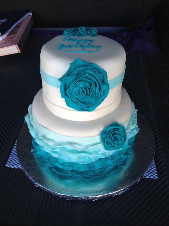 teal birthday cakes | teal ombre ruffled cake