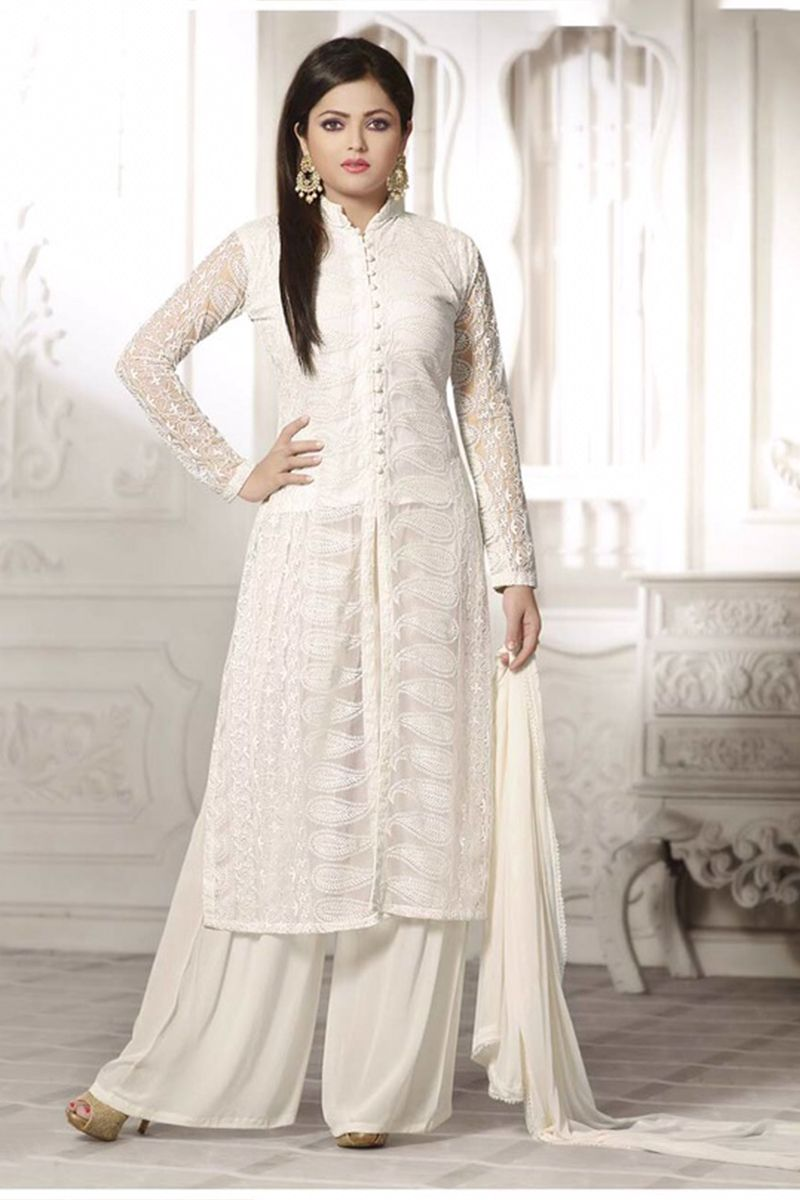 fbc51a910 Buy White Semi-Stitched Georgette Party Wear Salwar Suit EBSFSK223043 at  lowest price