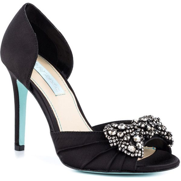 Womens Betsey Johnson Gown Pumps Satin Black