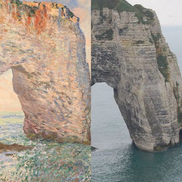 past/present Claude Monet La Manneporte près d'Etretat 1886