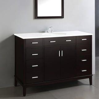 Wyndenhall Oxford 48 Inch Contemporary Bath Vanity In Dark Espresso Brown With White Engineered Quartz Marble Top In 2020 White Vanity Bathroom Diy Bathroom Vanity