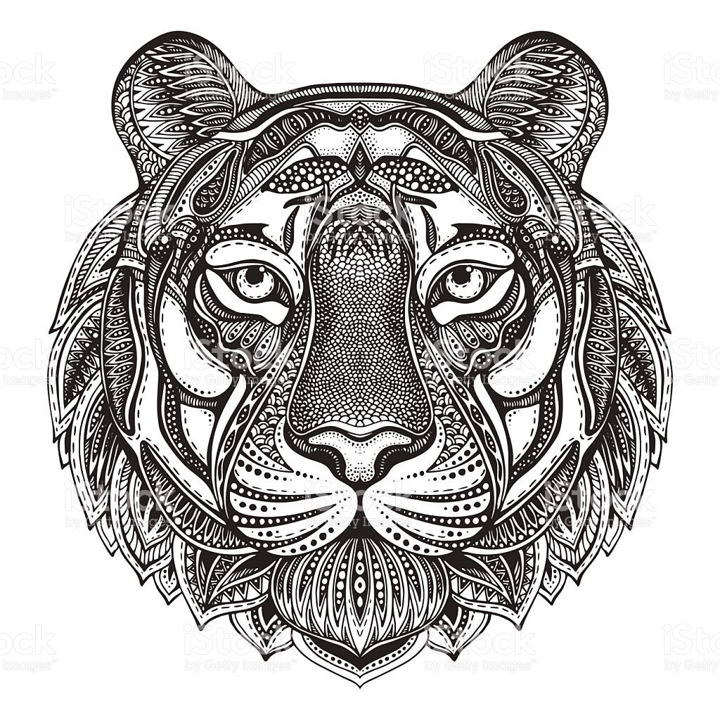 Hand drawn graphic ornate tiger with ethnic floral doodle collection tattoos floral - Tigre mandala ...