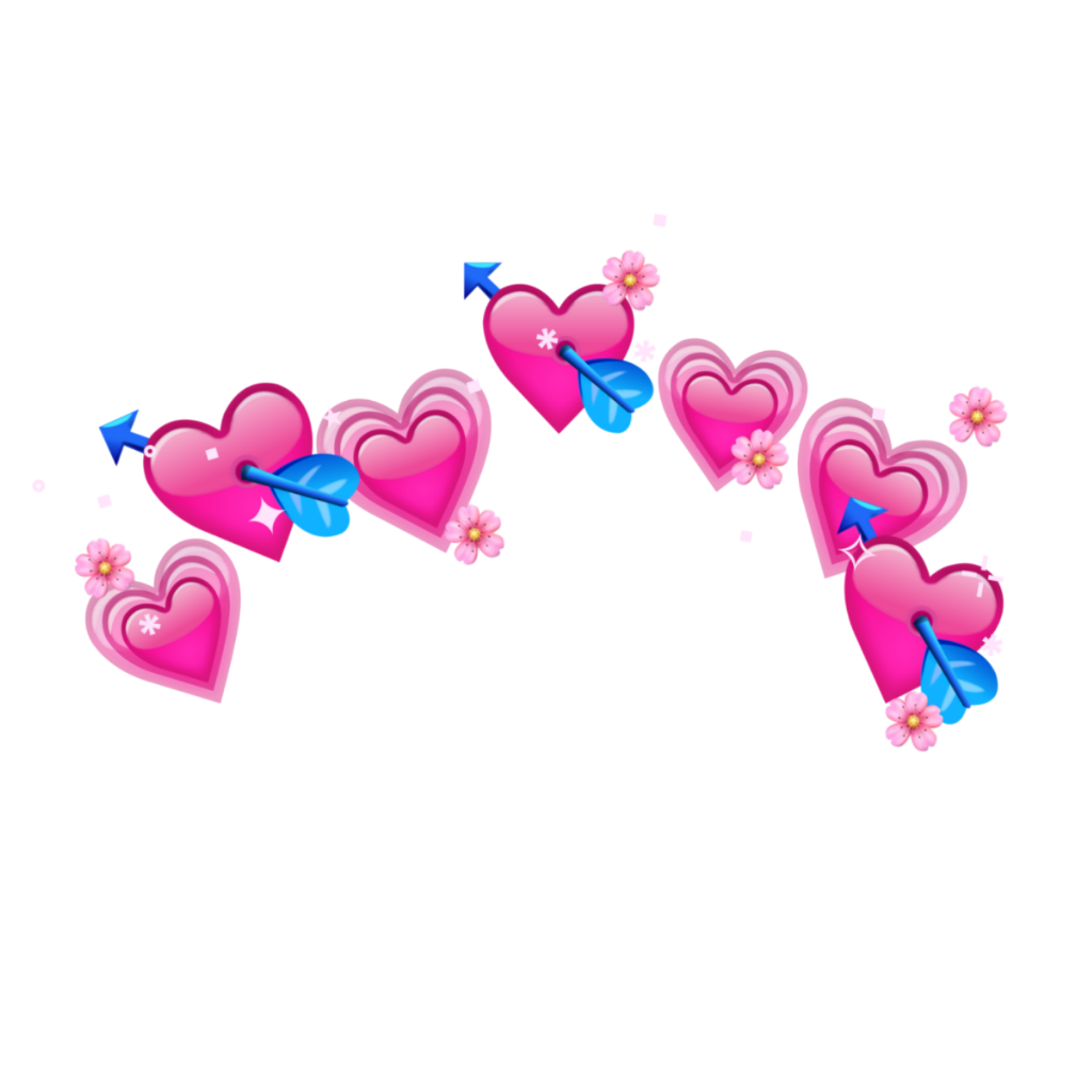 crown pink heart emoji tumblr flower in 2020 Cute