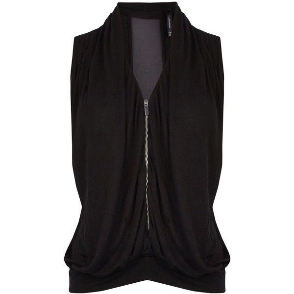 Karen Millen Draped low neck vest (125 905 LBP) ❤ liked on Polyvore featuring outerwear, vests, black, women, black waistcoat, black zip vest, karen millen, draped vest and black zipper vest