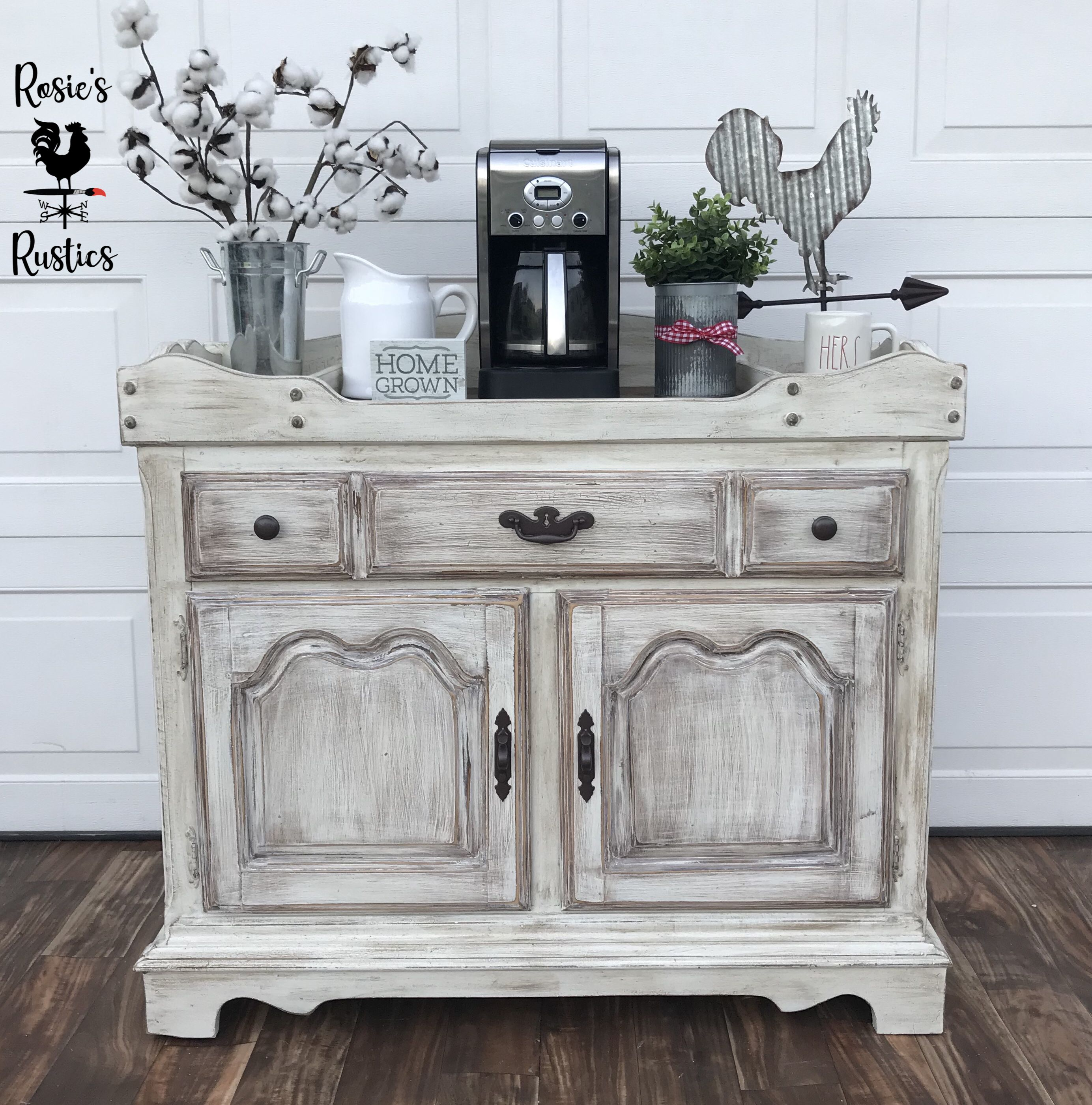 Vintage Rustic Painted Cabinet In Antique White By General