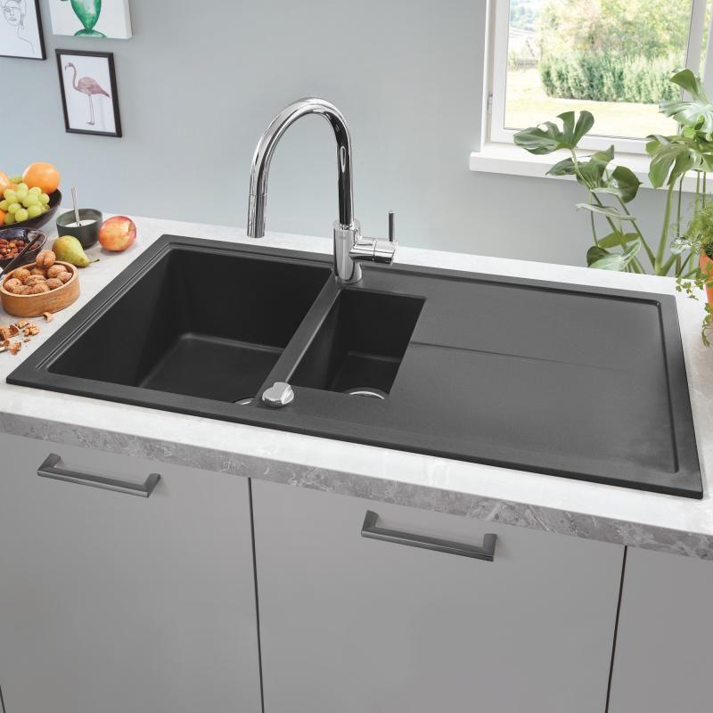 Grohe K400 Drehbare Einbauspule Mit Abtropfflache Granit Schwarz 31642ap0 Spulbecken Design Einbauspule Funktionelle Kuche