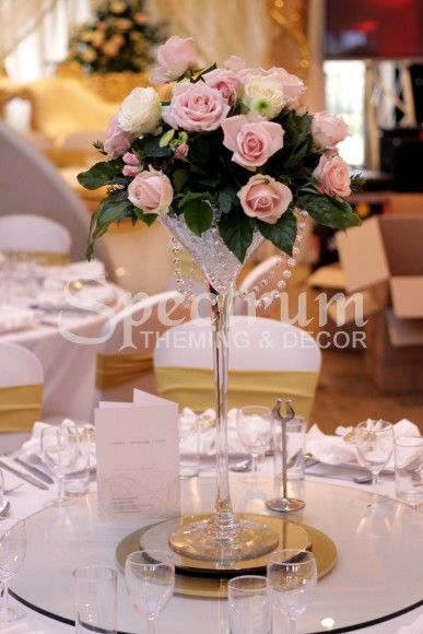 Modern Martini Glasses Made Vintage By Soft Pink Roses And Pearls 3 Centrepiece