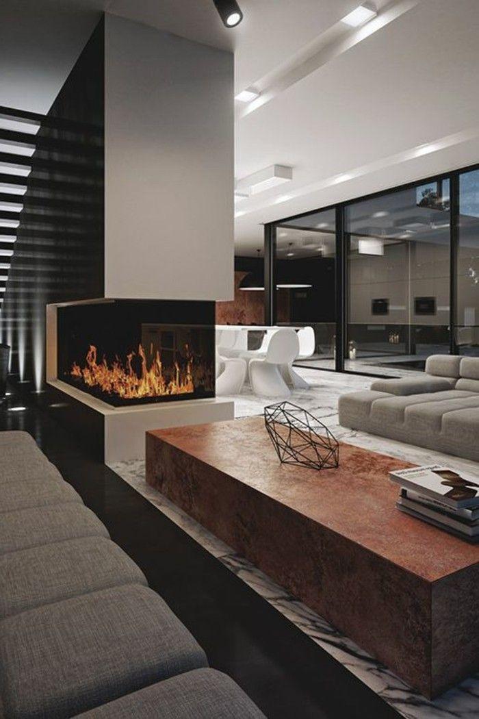 Kamine wohnzimmer in grau WOHNIDEEN Pinterest Kamin - moderne trennwande wohnzimmer