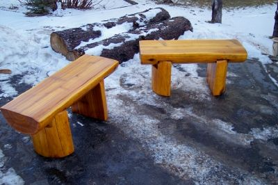 Half Log Top And Legs Bench Coffee Table