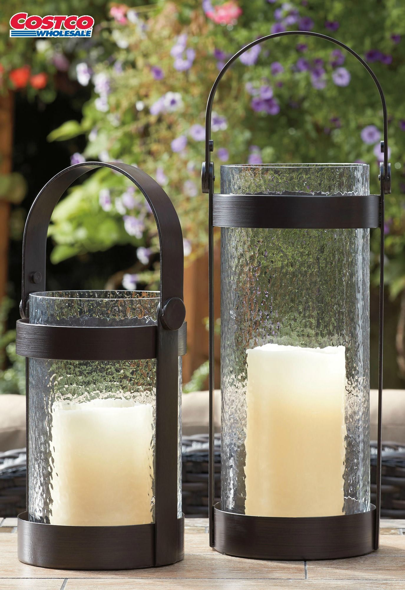 Hurricane Lanterns W Led Outdoor Candles 2 Pack Add This Set Of 2 Iron Framed Glass Hurricane Lanterns To Your C Outdoor Candles Hurricane Lanterns Candles