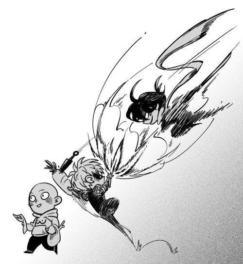 One Punch Man - Saitama, Genos and Sonic