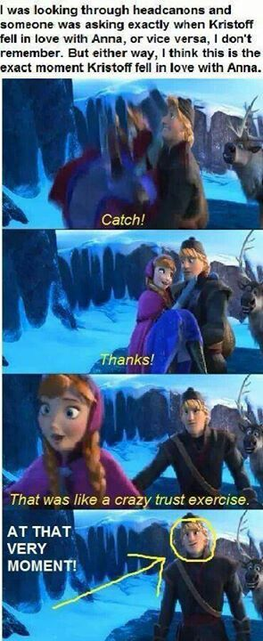 Look at his face! He is smiling behind her back! And she did not notice it and didn't notice that Kristoff is in love. Looks like Kristoff won't say he's in love with Anna. You can see Sven shipping in the background