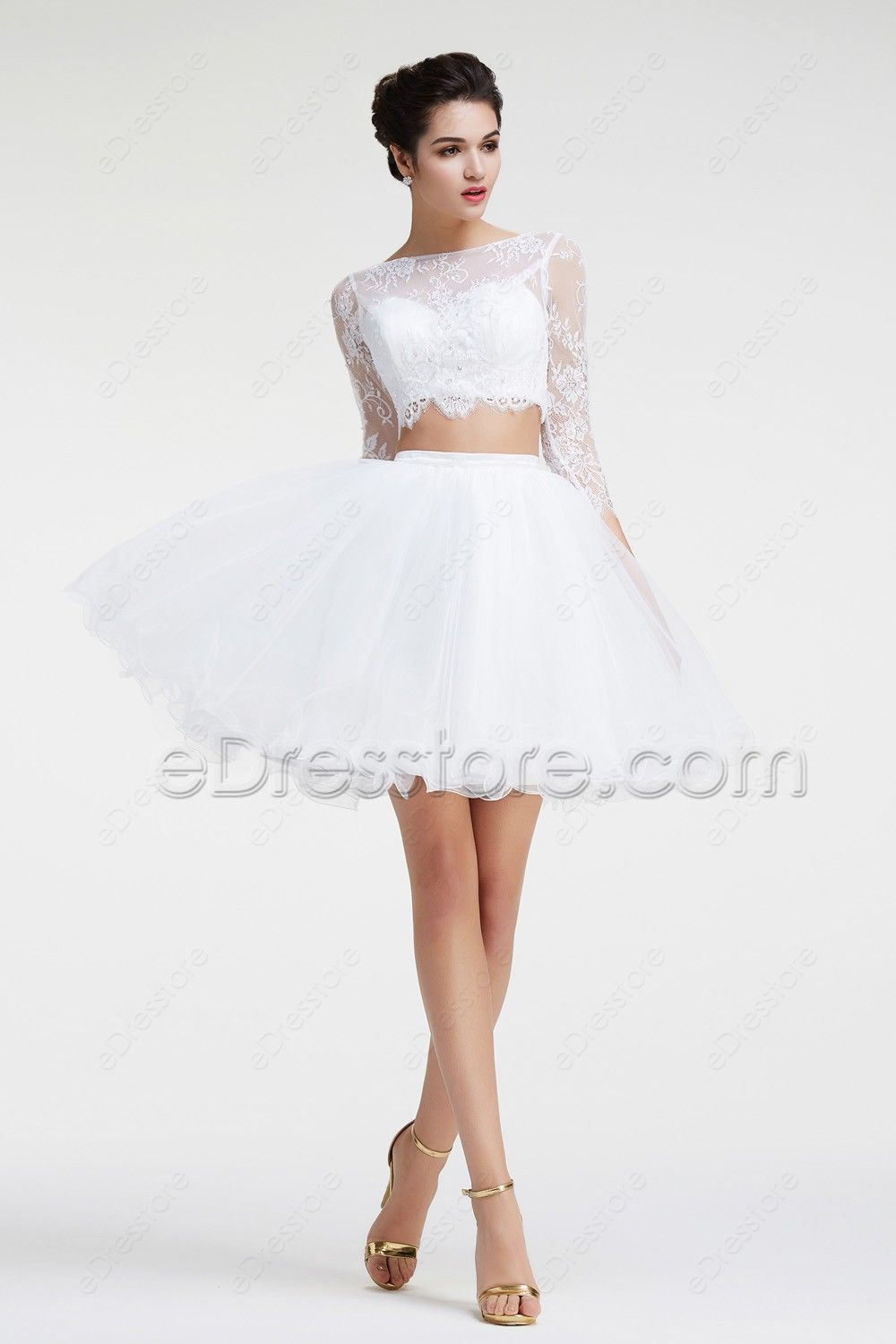 White modest two piece short prom dresses long sleeves ball gowns
