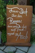 Edelrost Tafel Regen Schriftrolle R...