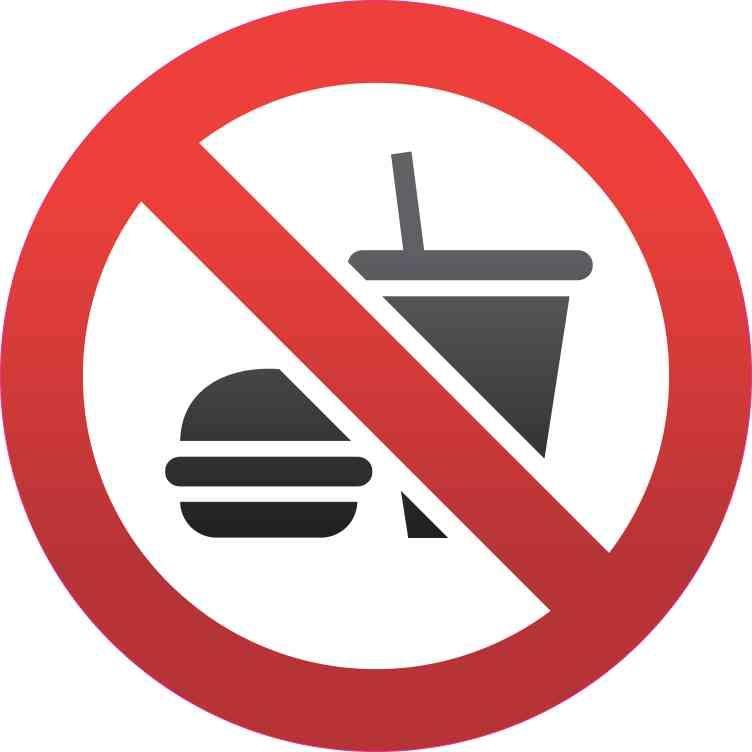 5in x 5in no food or drink sticker vinyl road sign door