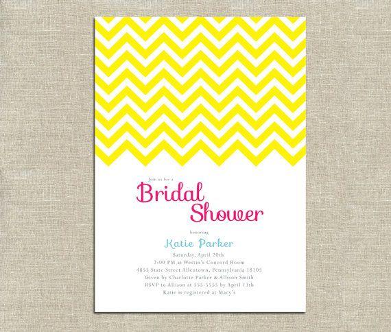 Chevron Bridal Shower Invitation  PRINTABLE  Yellow Pink Turquoise by InvitationCeleb