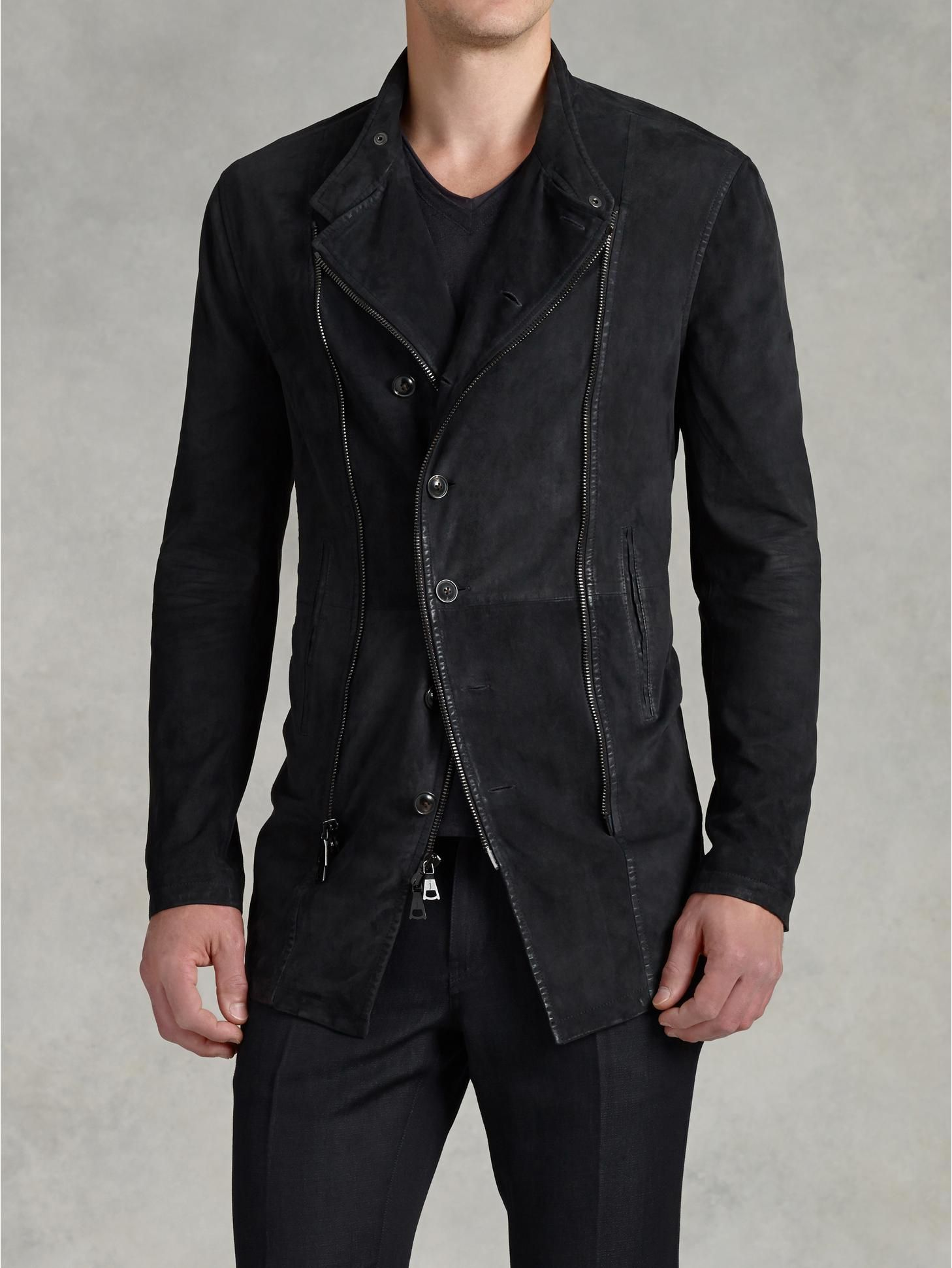 ee5f8583e438 Asymmetrical Zip and Button Front Jacket - John Varvatos | John ...