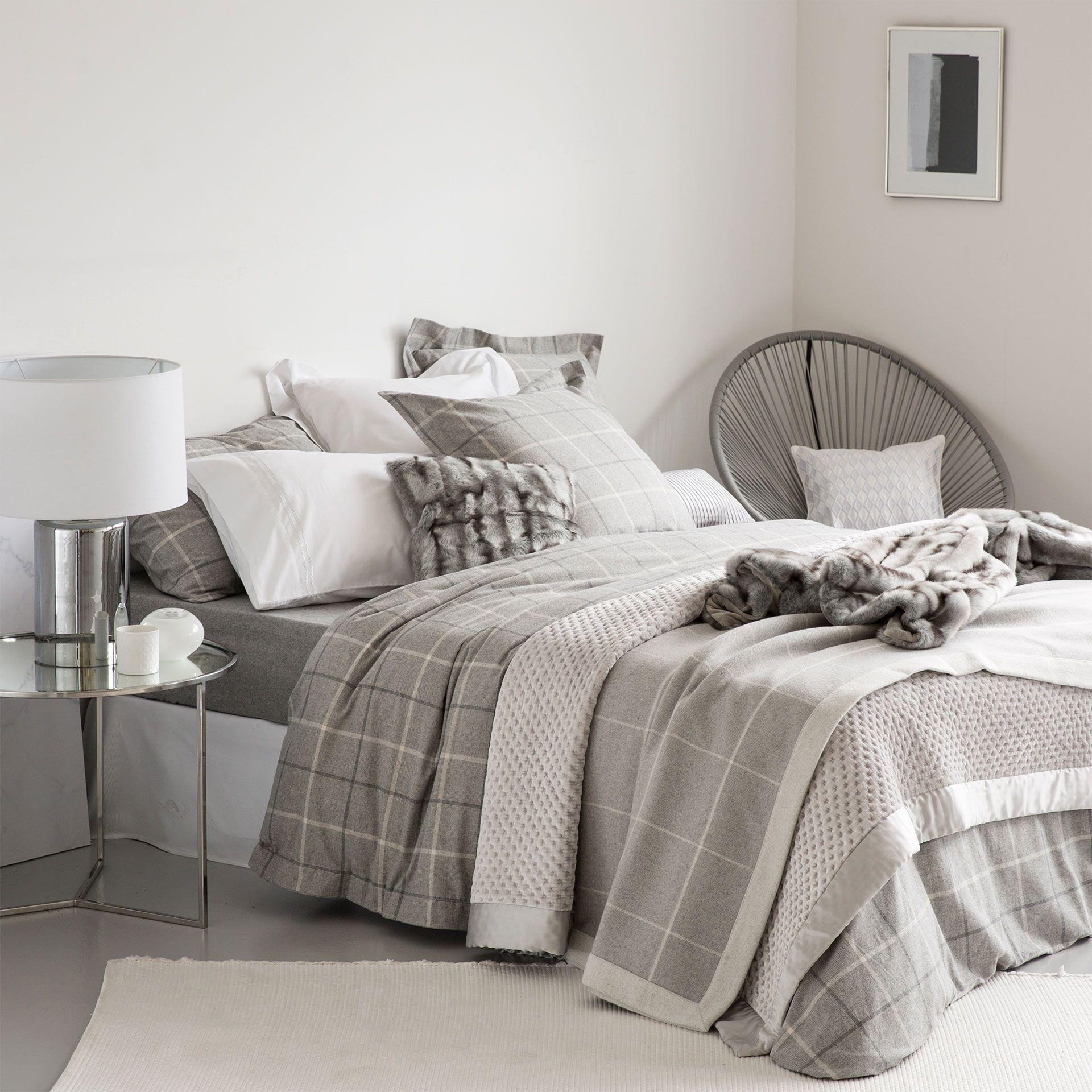 Flannel Checked Bedding Hotel Collection