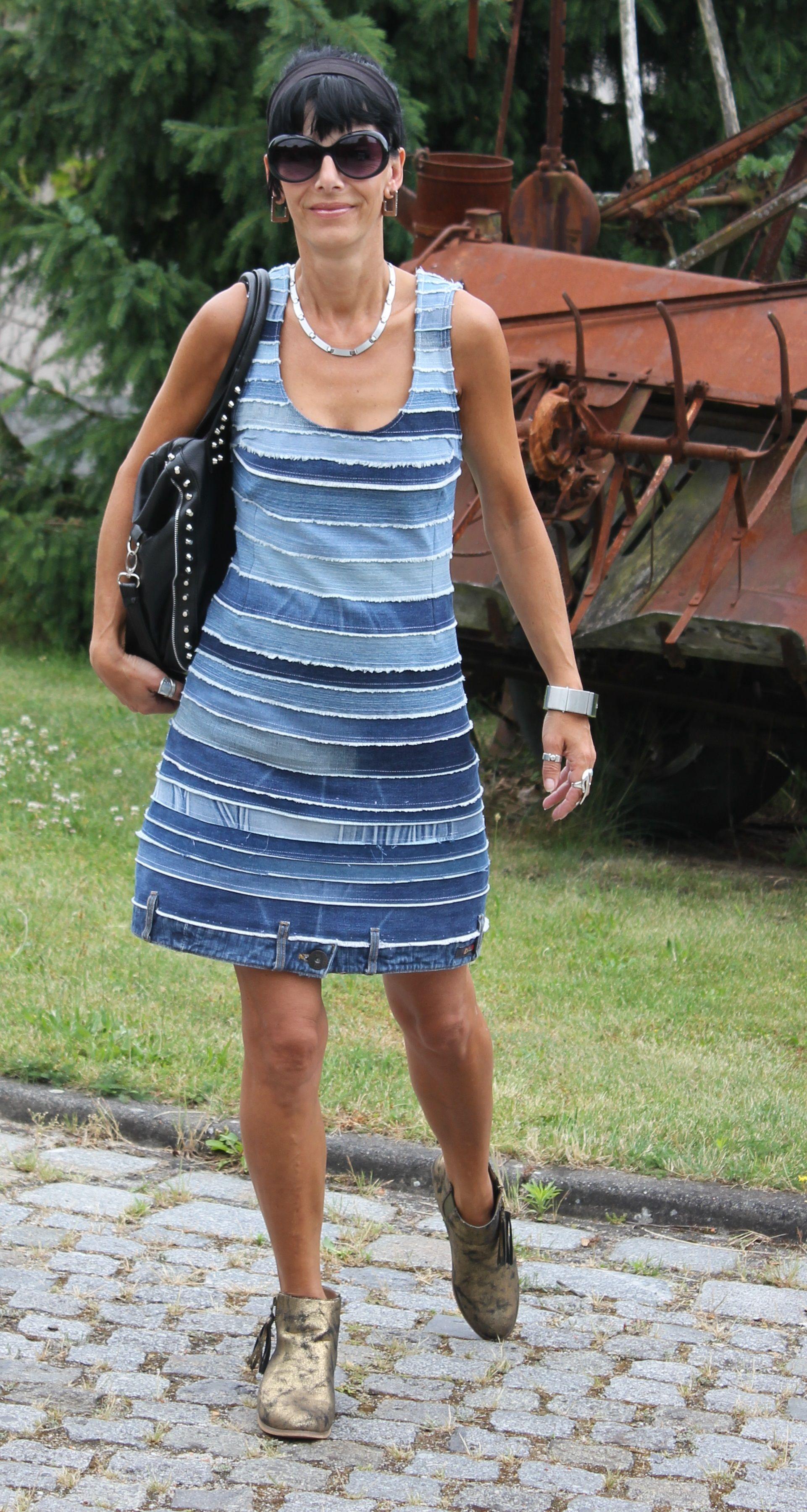 Kleid aus alten Jeans | Jeans Upcycling | Pinterest | alte Jeans ...