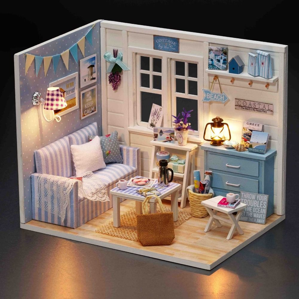cheap wooden dollhouse furniture. Cheap Gift Gifts, Buy Quality Diy Directly From China Toys Suppliers: Wooden Dollhouse Furniture Kit Miniature Fresh Sunshine Room DIY Doll House