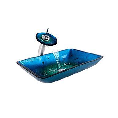 voitto suorakulmainen sininen karkaistua lasia alus uppoaa ja vesiputous hana (0917-vt4032) – EUR € 181.49