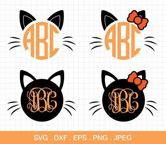 Cat Halloween Monogram Frames SVG, Cat Bow Halloween