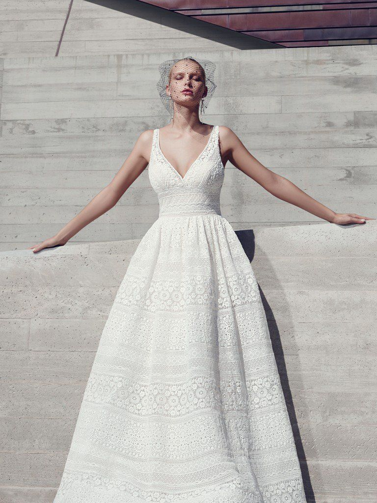 Maggie sottero wedding dresses eyelet lace floral motif and neckline
