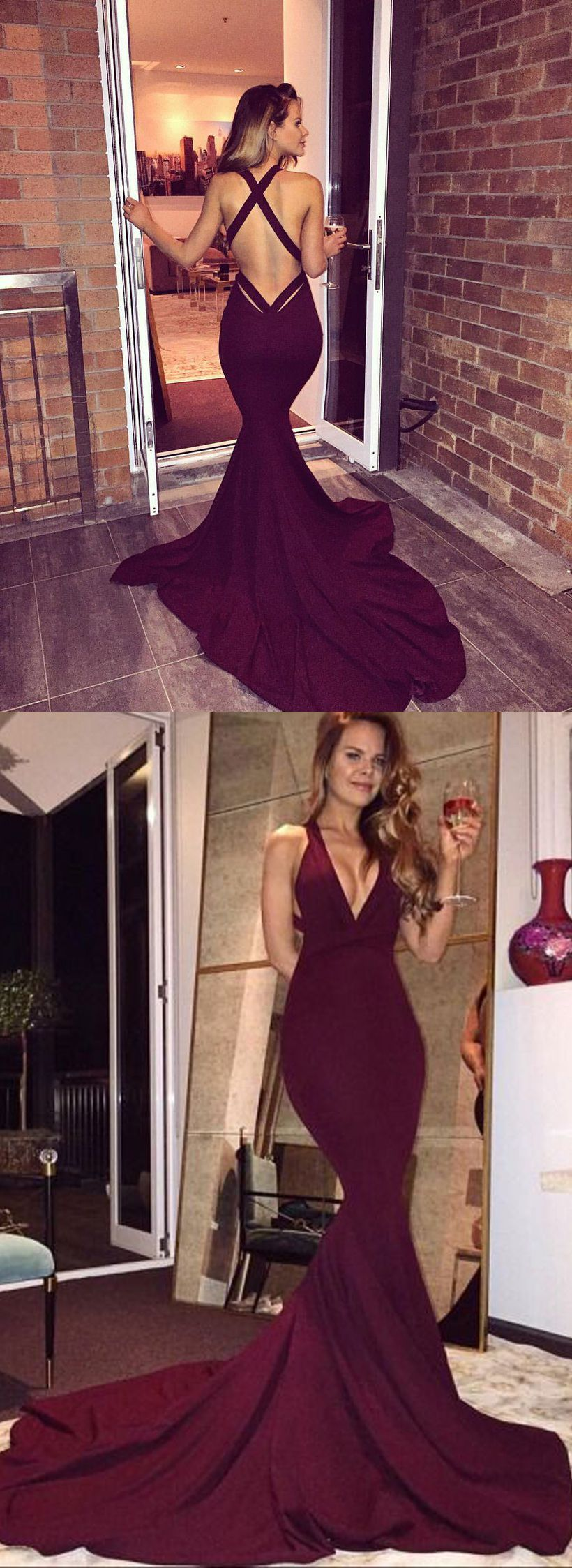 Mermaid style maroon deep vneck court train backless prom dress